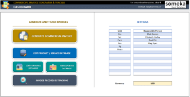 Commercial Invoice Generator And Tracker Excel Template