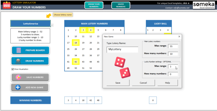 Lottery Simulator-Excel-Template-Someka-SS3