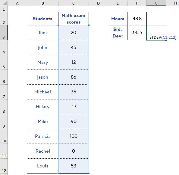 find-standard-deviation-excel-normalize-data