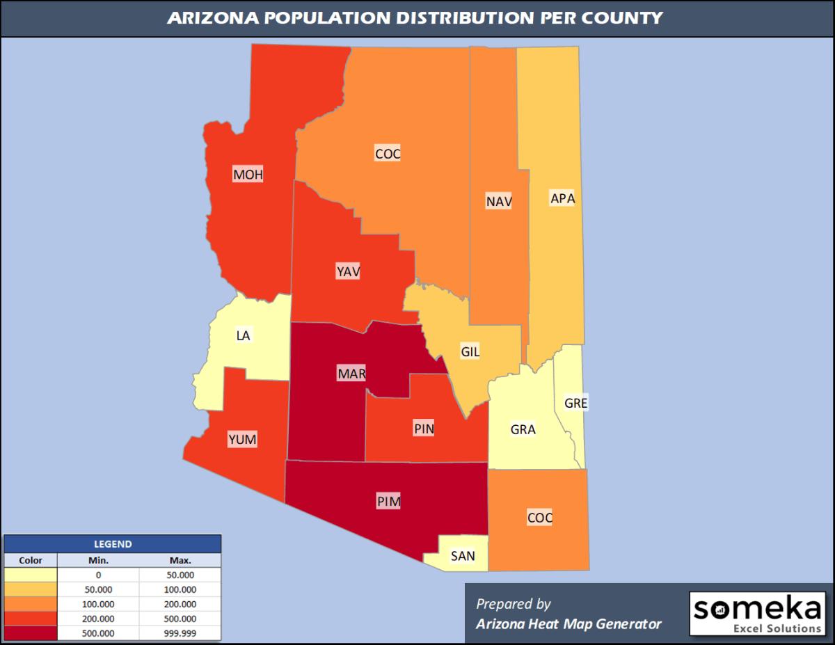 Arizona County Population Density Map
