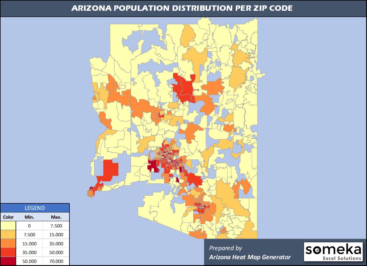 Arizona Zip Code Population Density Map