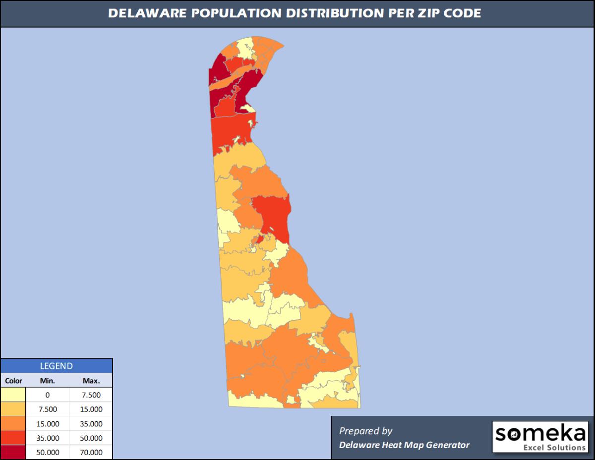 Delaware Zip Code Population Density Map