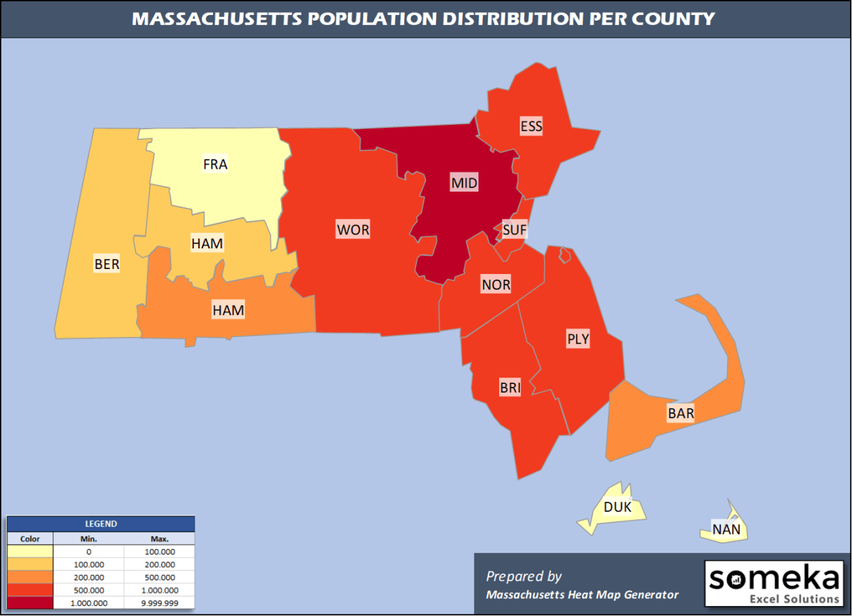 Massachusetts County Population Density Map