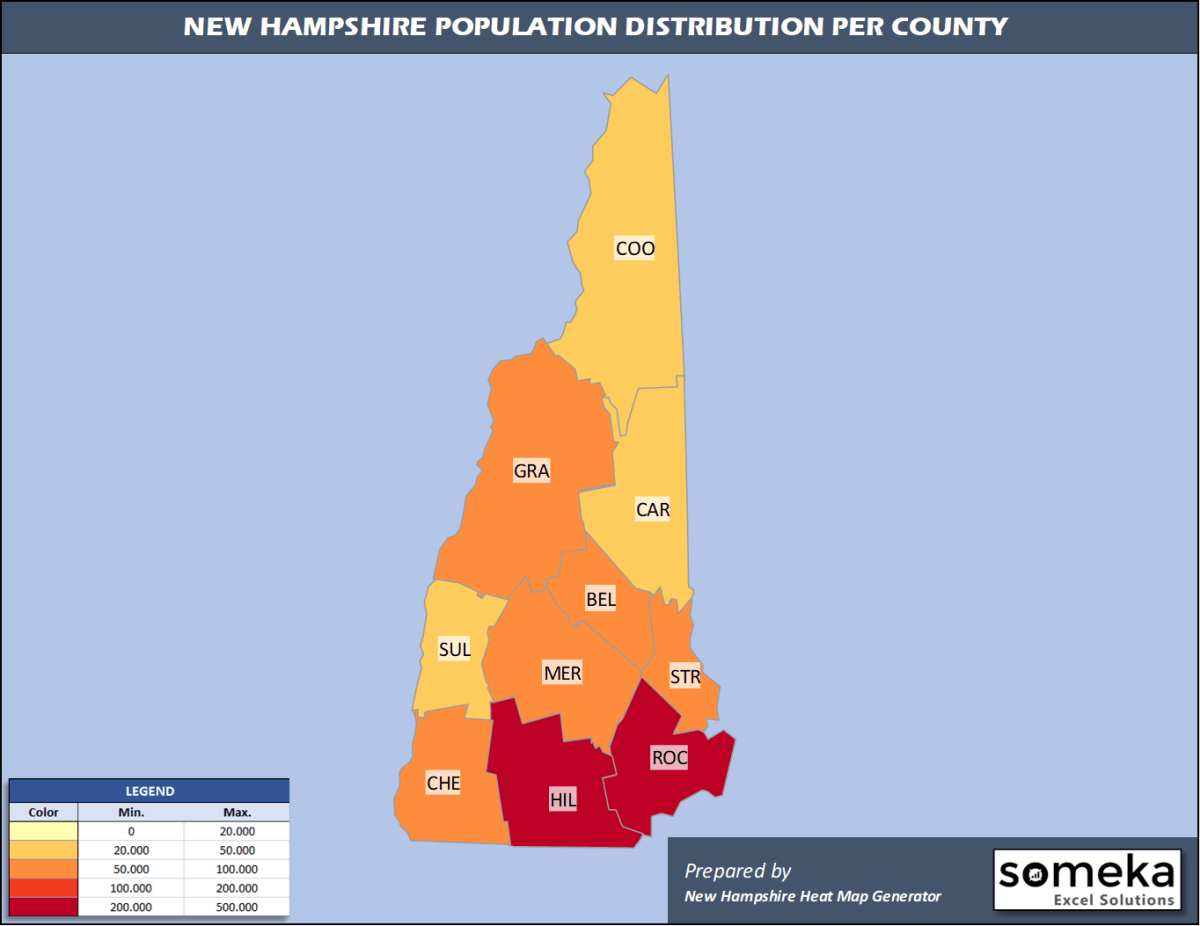 New Hampshire County Population Density Map