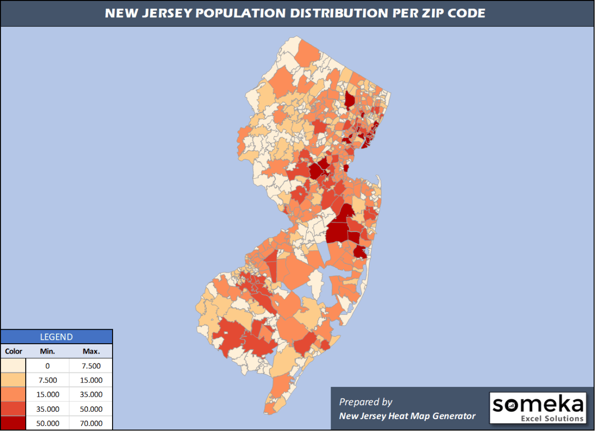 New Jersey Zip Code Population Density Map
