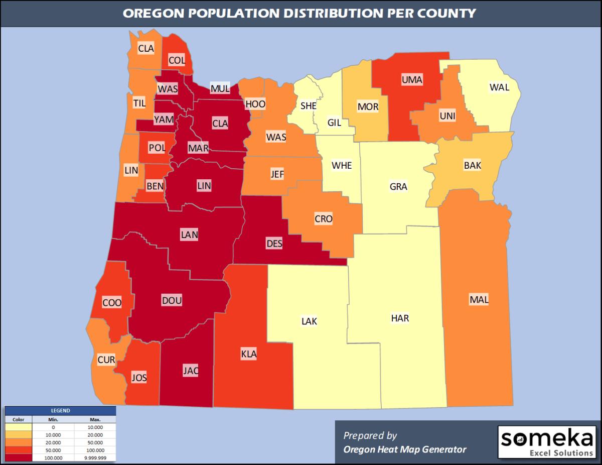 Oregon County Population Density Map