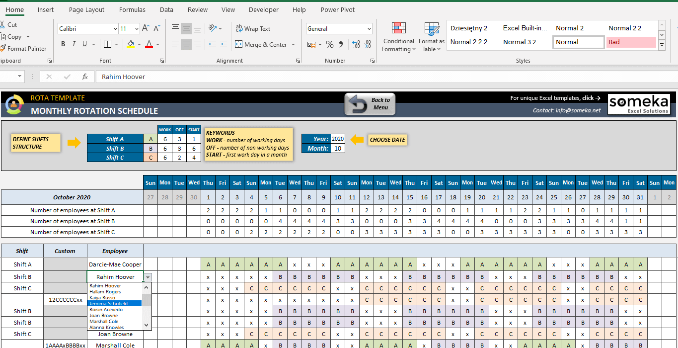 Rota Template Excel Template For Rotation Schedule