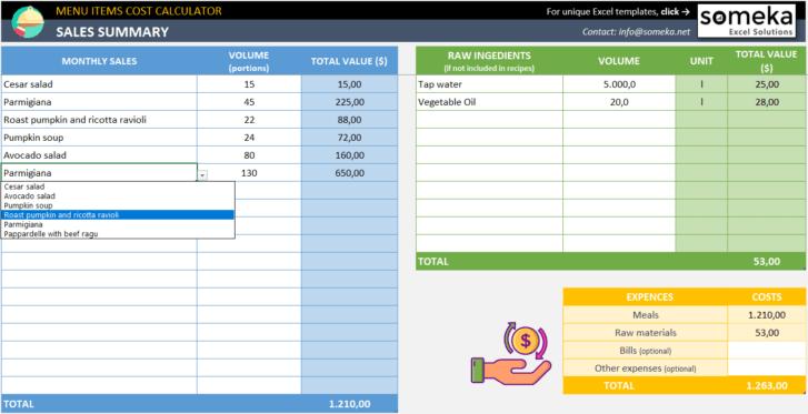 Menu-Items-Cost-Calculator-Someka-SS5