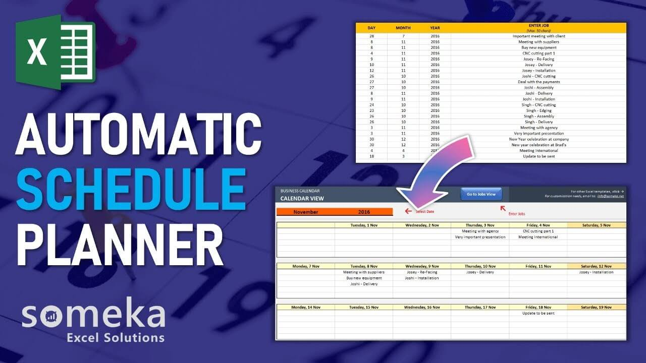 Automatic Schedule Planner - Someka Excel Template Video