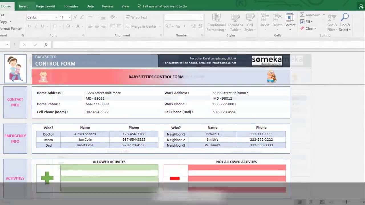 Baby Information Sheet for Babysitters - Someka Excel Template Video