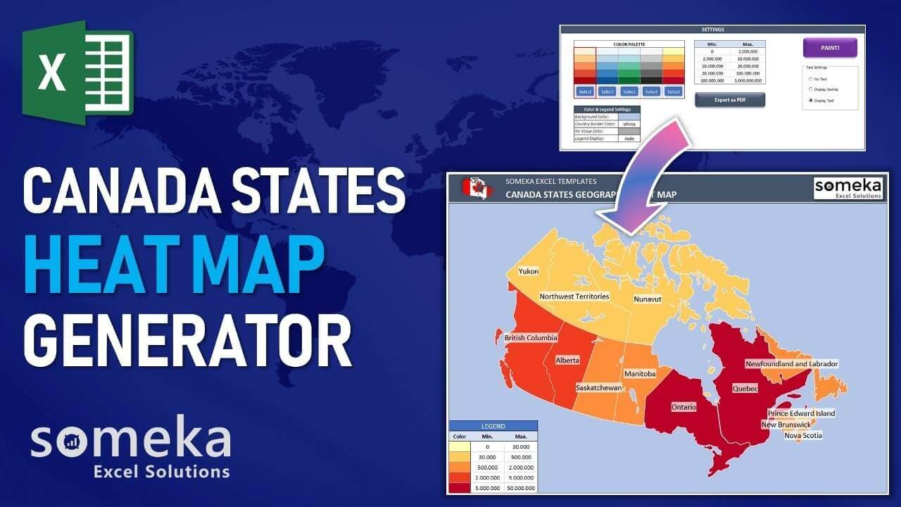 Canada Geographic Heat Map Generator - Someka Excel Template Video