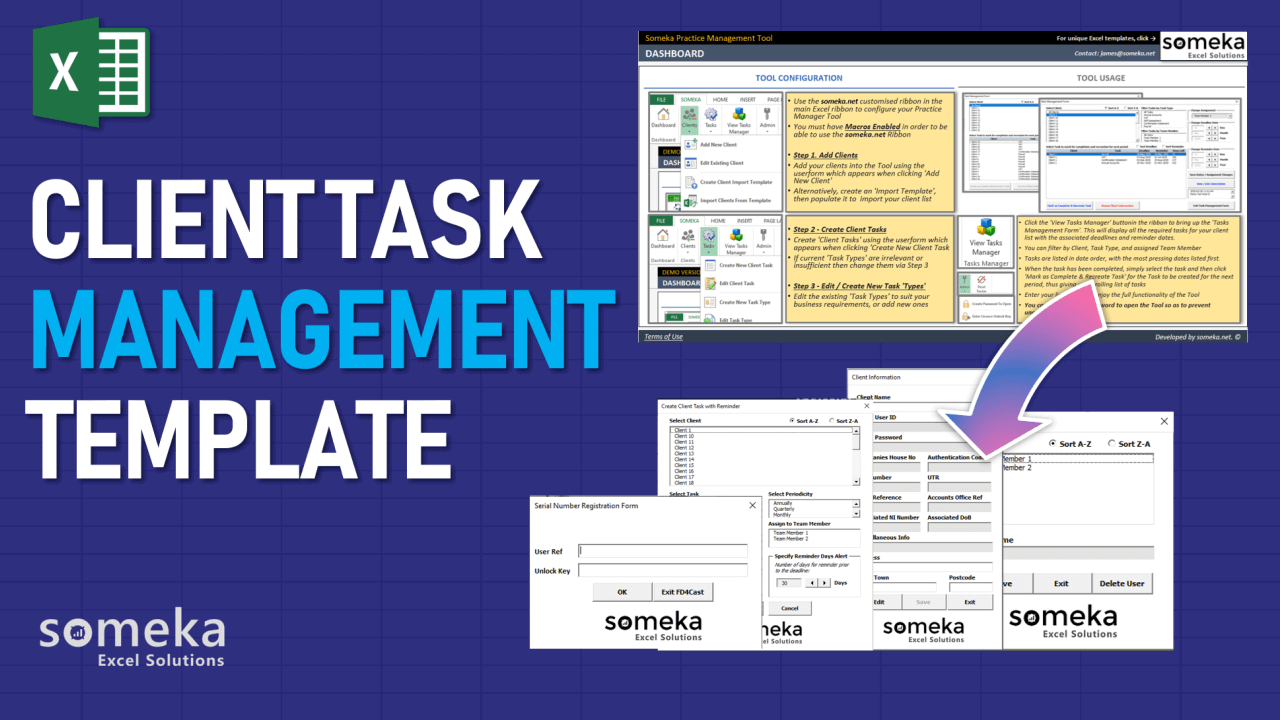 Client Task Management Template - Someka Excel Template Video
