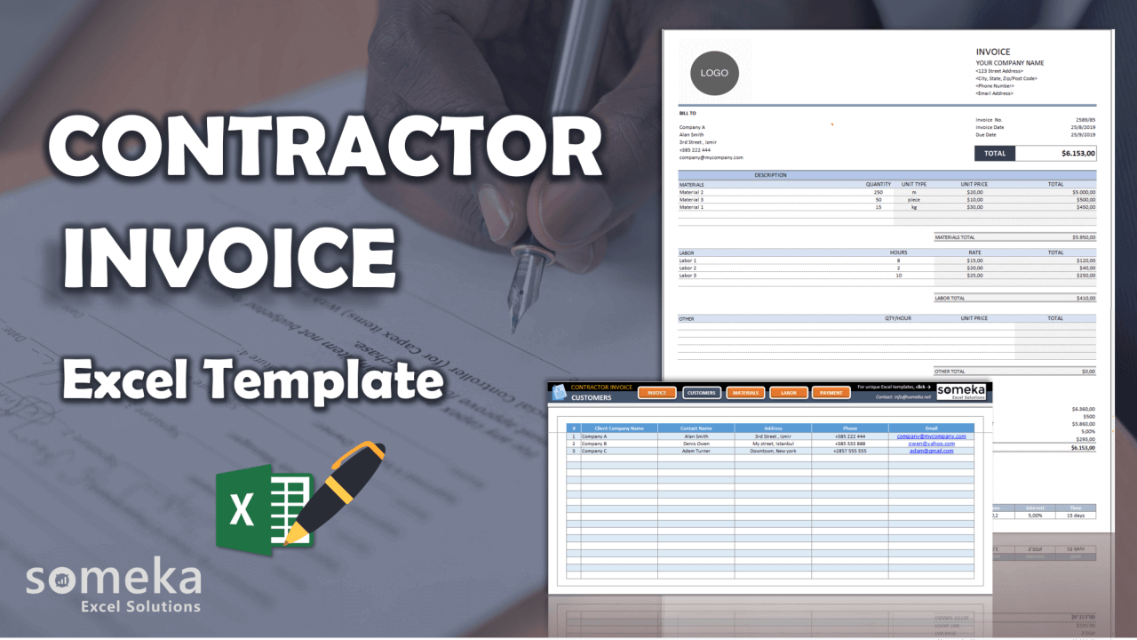 Contractor Invoice Template - Someka Excel Template Video