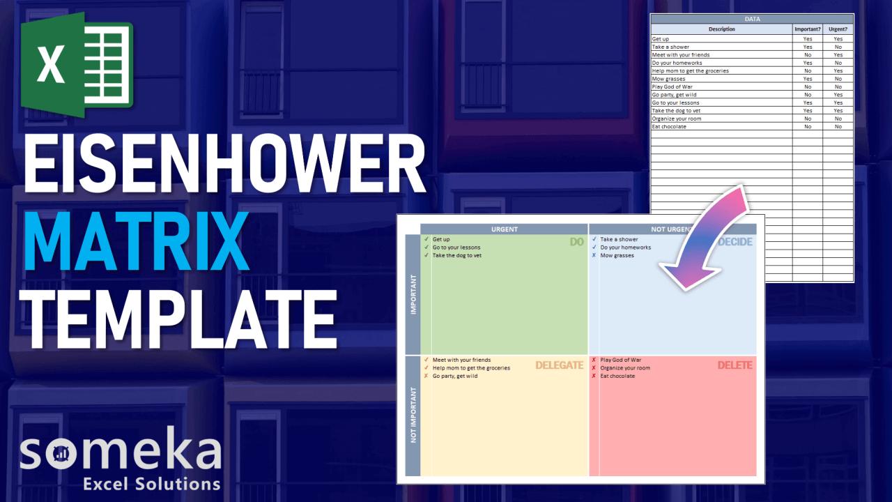 Eisenhower Matrix Template - Someka Excel Template Video