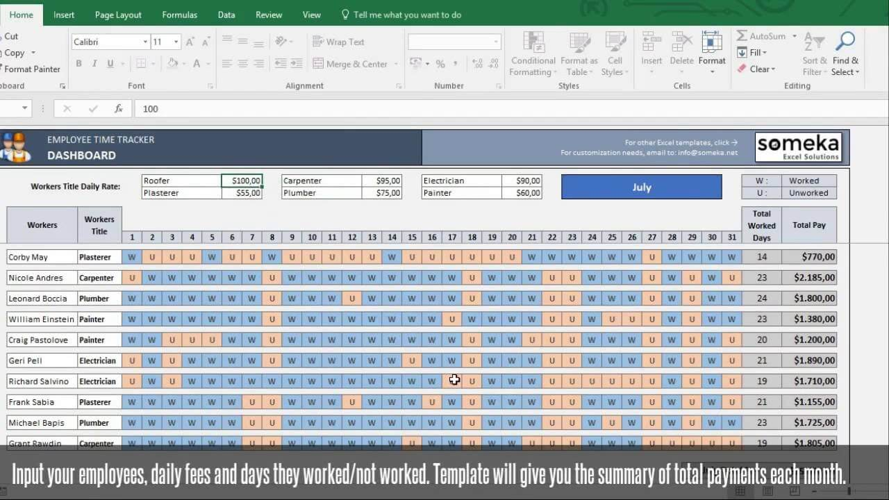 Employee Time Tracker and Payroll Template - Someka Excel Template Video