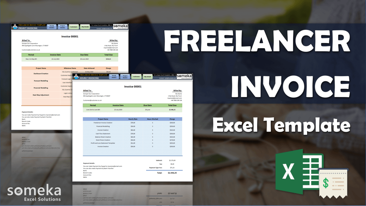 Freelance Invoice Template - Someka Excel Template Video