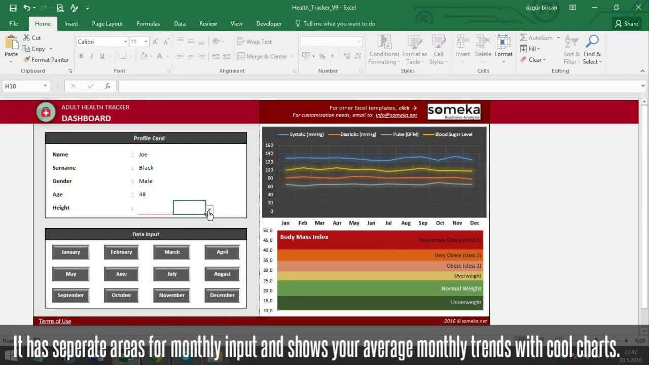 Health Tracking Kit for Adults - Someka Excel Template Video