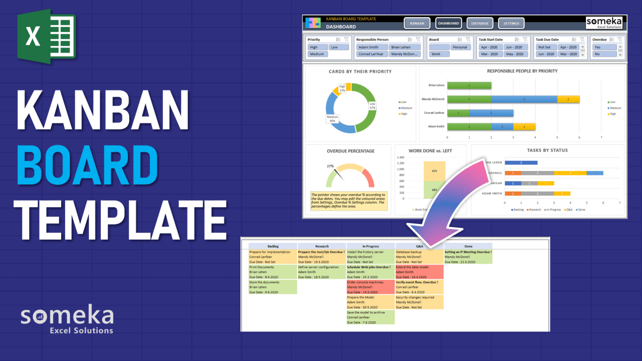 Kanban Board Template - Someka Excel Template Video