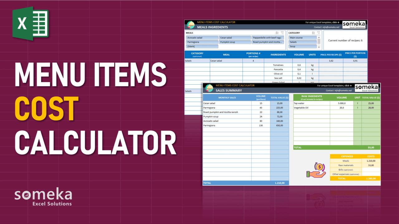 Menu Items Cost Calculator - Someka Excel Template Video