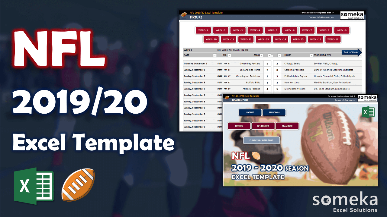 NFL 2019-2020 Excel Template - Someka Excel Template Video