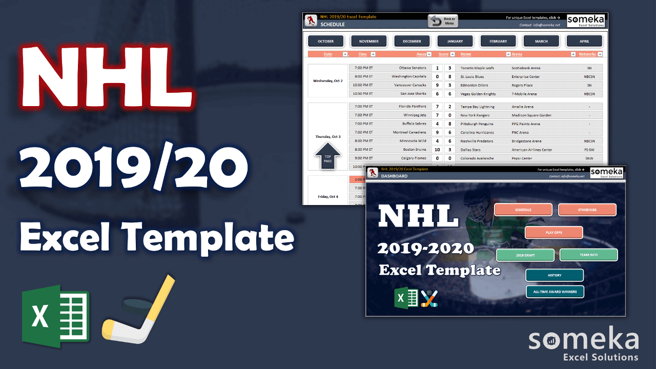 NHL Excel Template - Someka Excel Template Video
