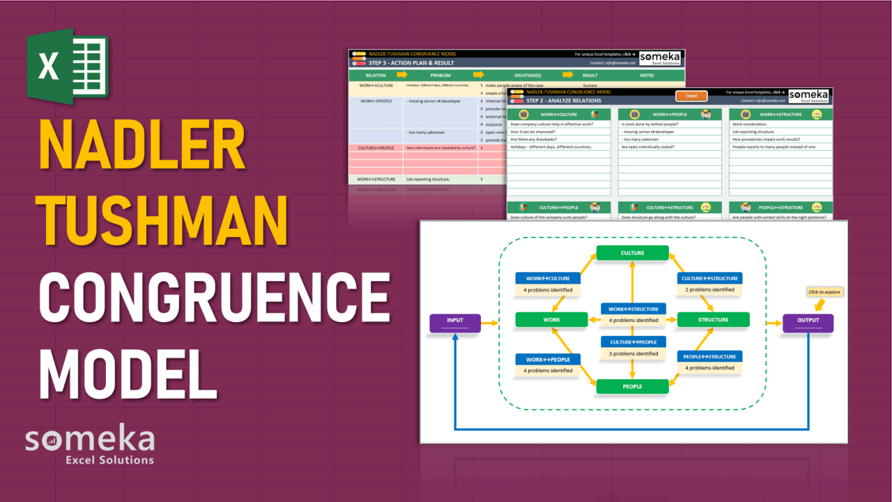Nadler Tushman Congruence Model - Someka Excel Template Video