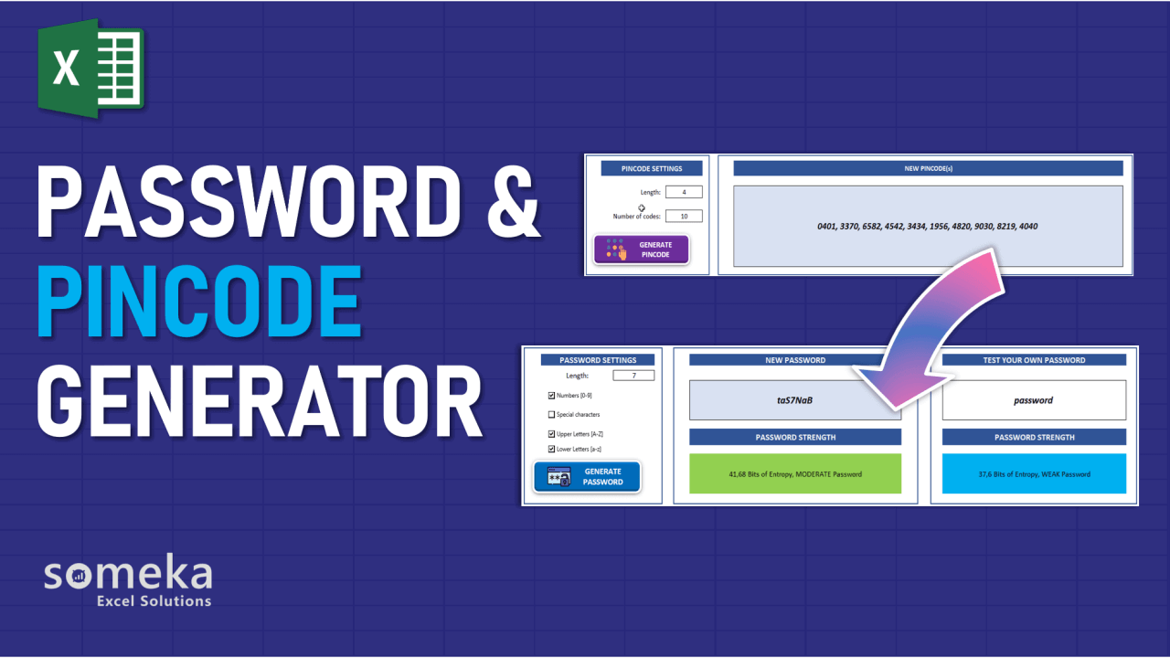 Random Password and Pincode Generator - Someka Excel Template Video