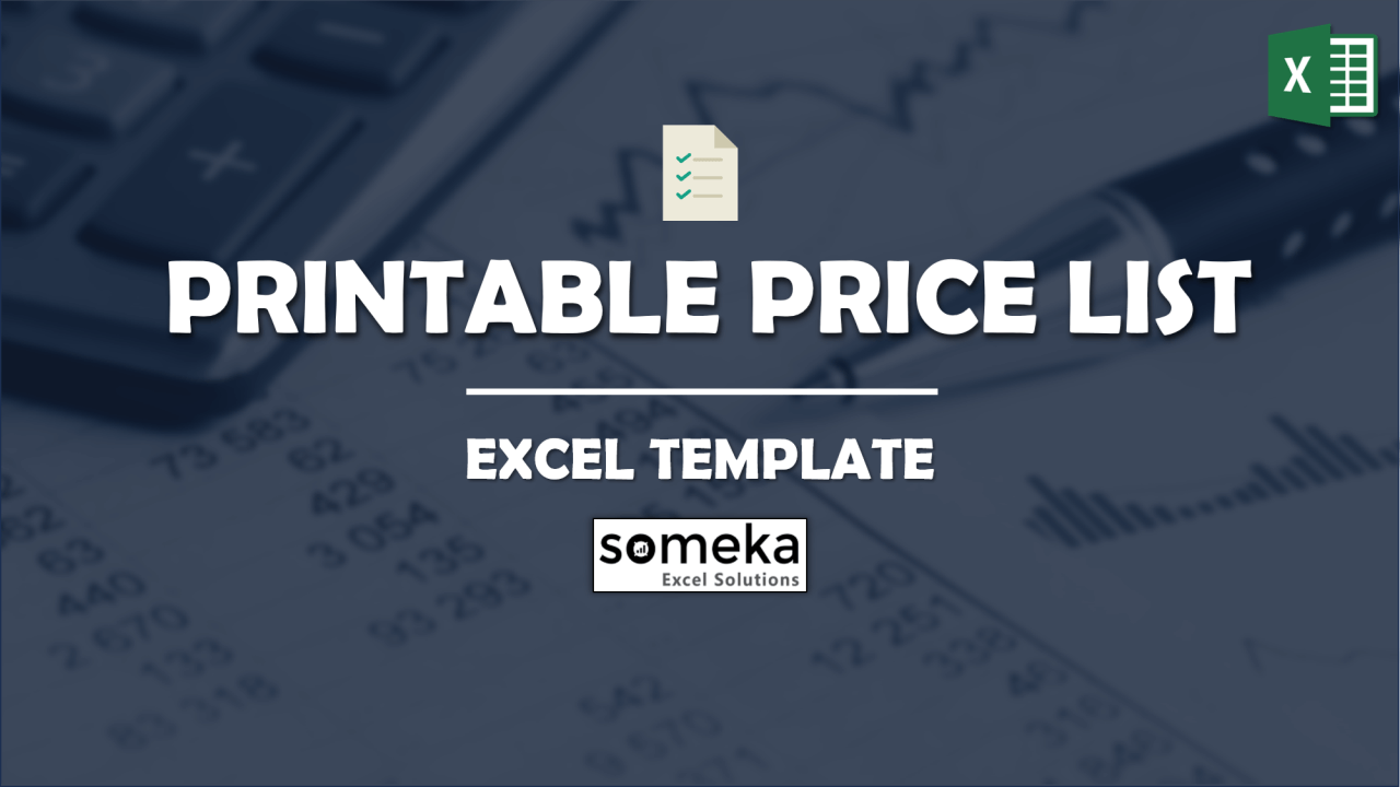 Price List Template - Someka Excel Template Video