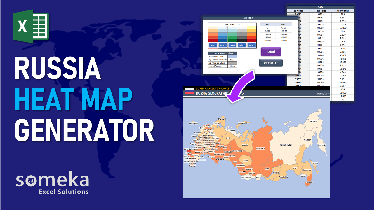 Excel Geographic Heat Map Generator - Someka Template Video
