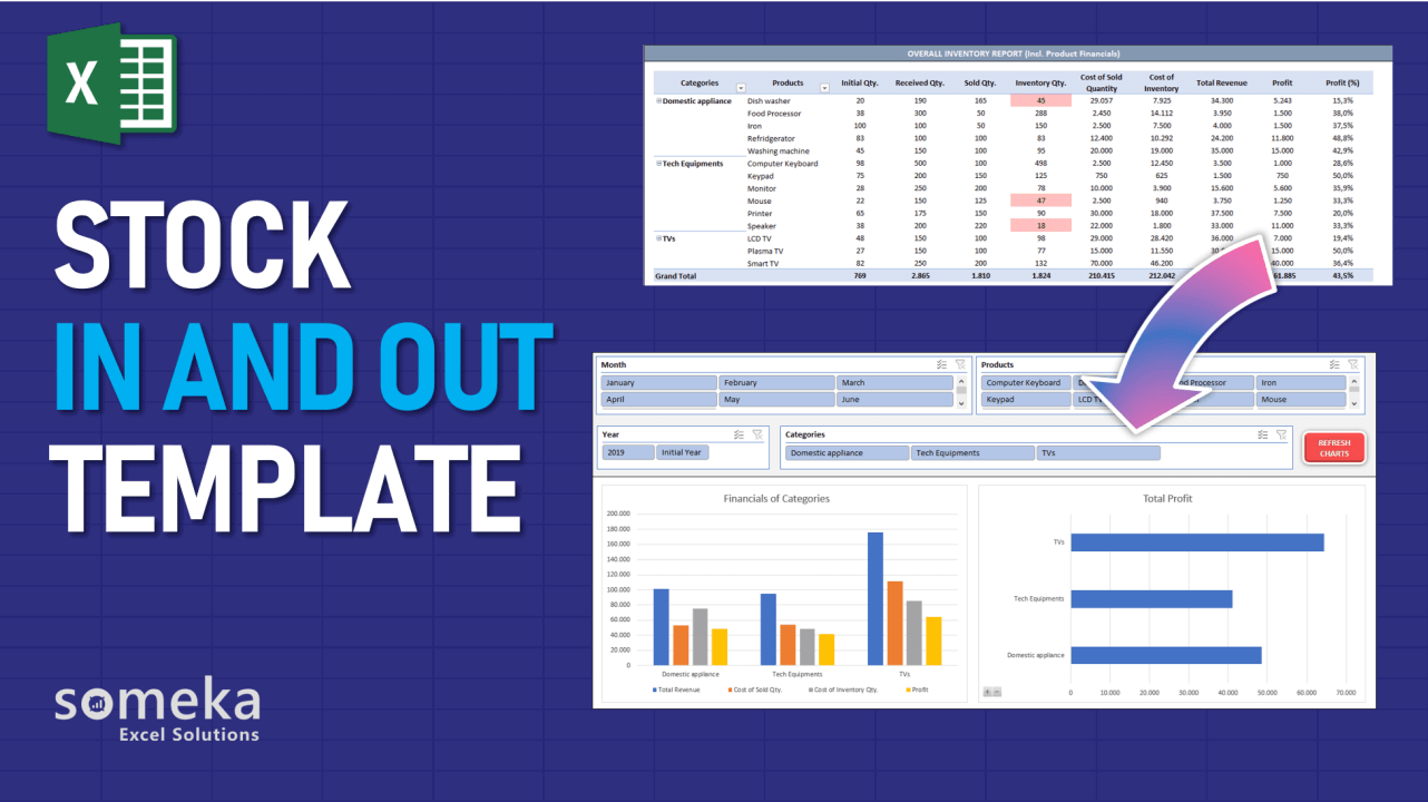 Stock & Inventory Tracker Template - Someka Excel Template Video