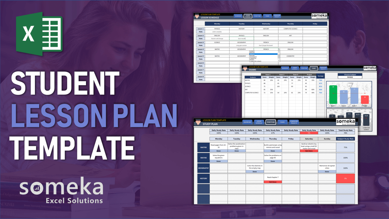 Student Lesson Plan Template - Someka Excel Template Video
