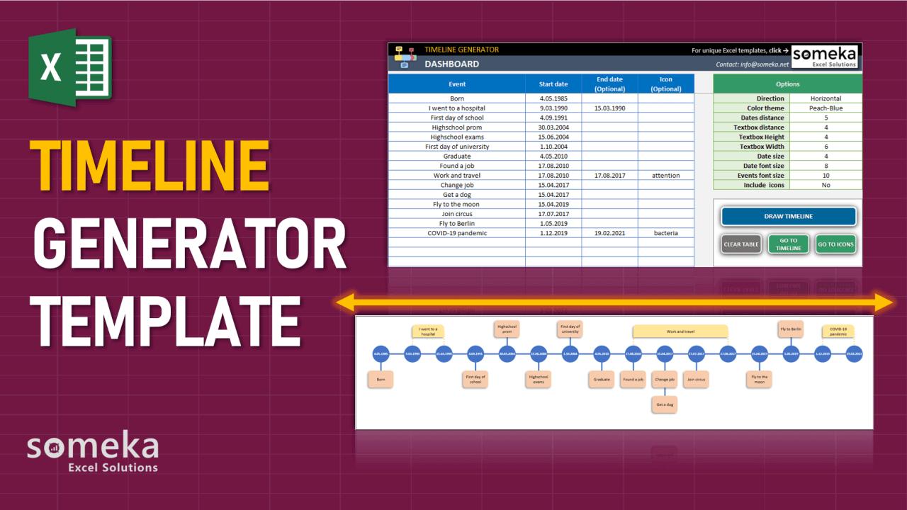 Excel Timeline Maker Template - Someka Excel Template Video
