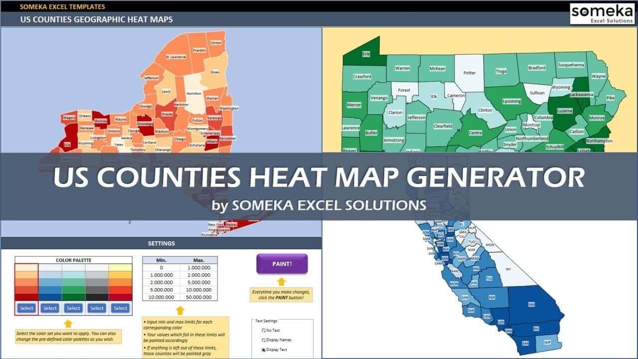US Counties Heat Map Generators - Someka Excel Template Video