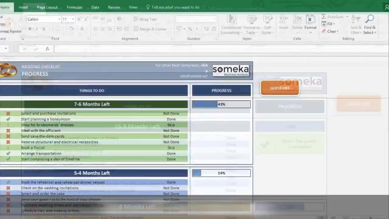 Wedding Checklist - Someka Excel Template Video