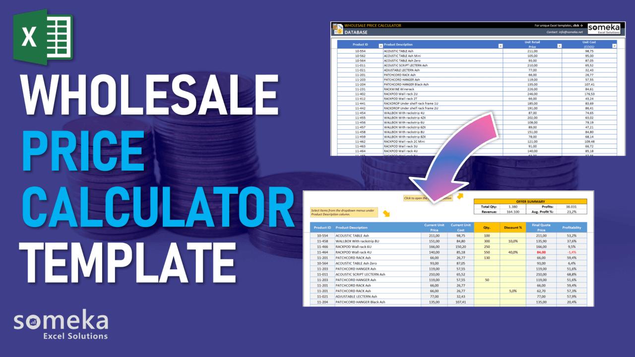 Wholesale Price Calculator Template - Someka Excel Template Video