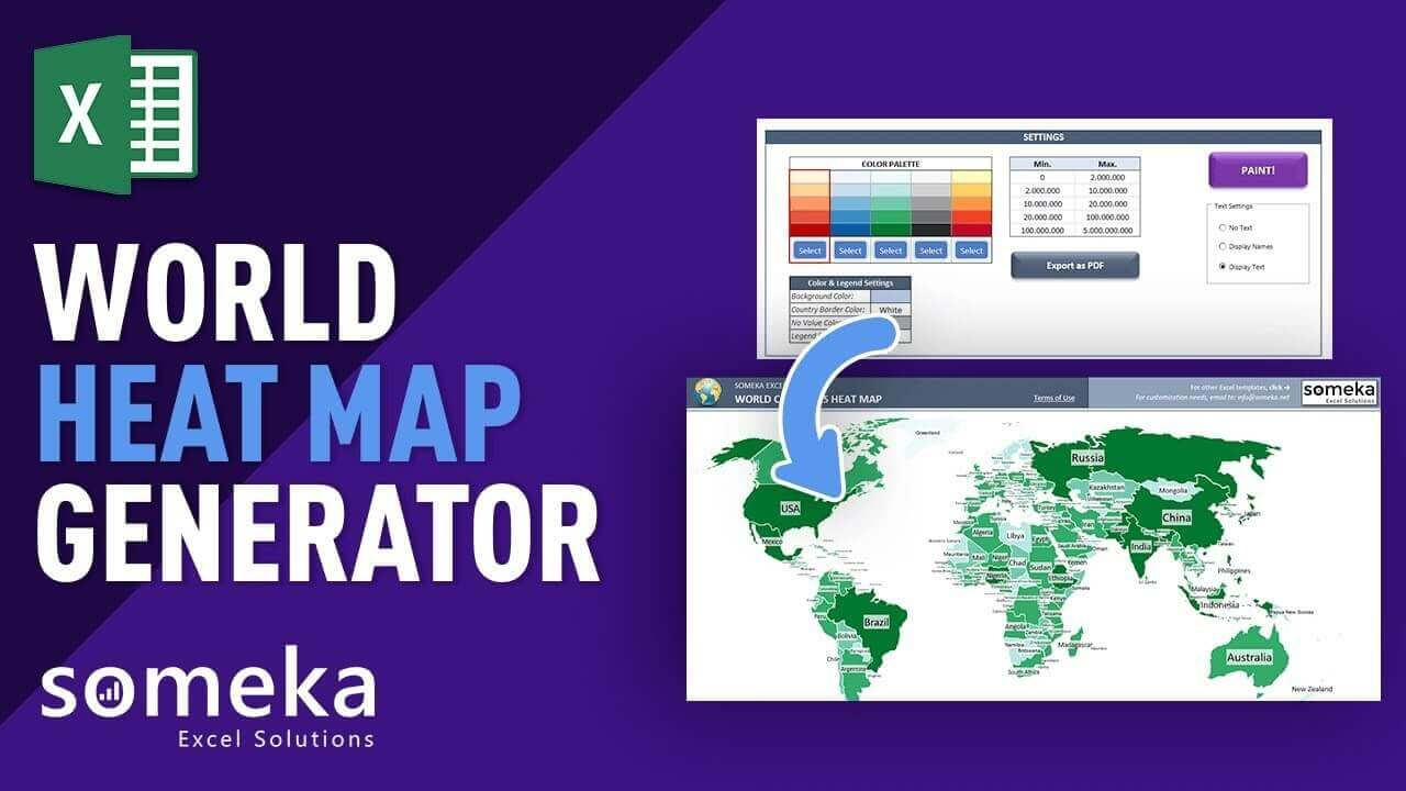 World Countries Geographic Heat Map Generator - Someka Excel Template Video