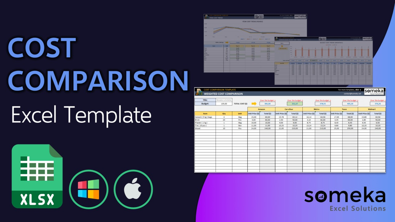 Cost Comparison Template - Someka Excel Template Video