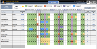 Employee Time Tracker And Payroll Template