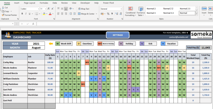 Employee-Time-Tracker-and-Payroll-Template-Someka-SS6