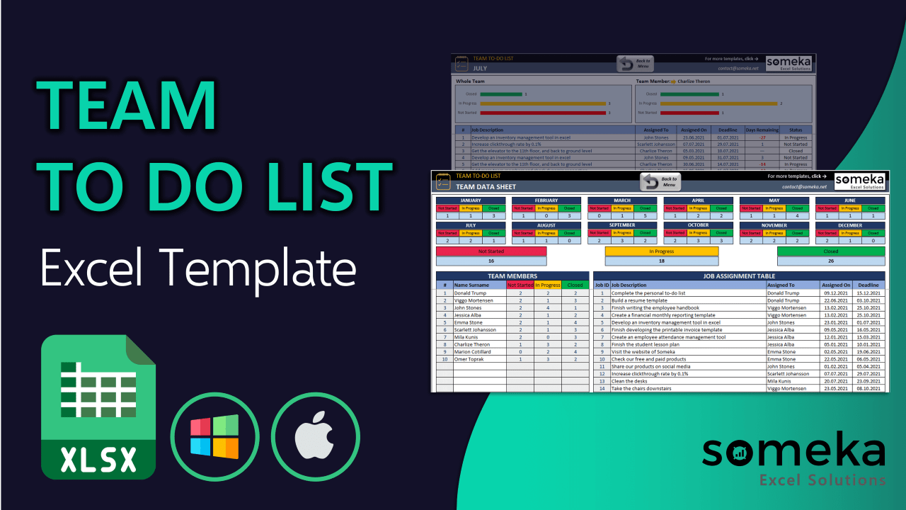 Team To Do List - Someka Excel Template Video
