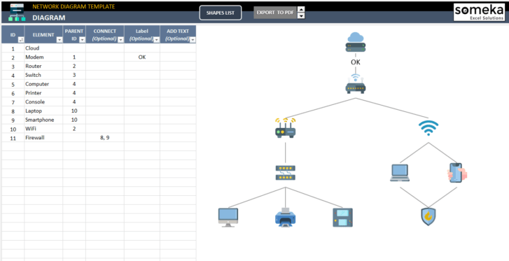 Network-Diagram-Excel-Template-Someka-SS1
